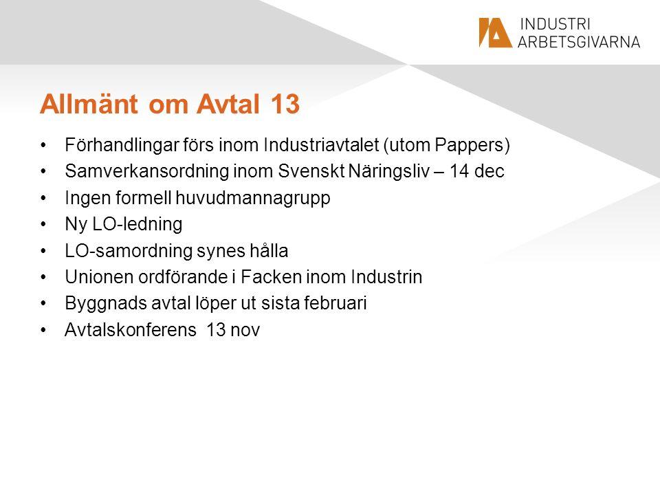 Allmänt om Avtal 13 Förhandlingar förs inom Industriavtalet (utom Pappers) Samverkansordning inom Svenskt Näringsliv – 14 dec Ingen formell huvudmanna