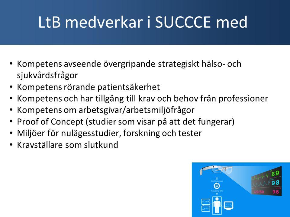 Kompetens avseende övergripande strategiskt hälso- och sjukvårdsfrågor Kompetens rörande patientsäkerhet Kompetens och har tillgång till krav och behov från professioner Kompetens om arbetsgivar/arbetsmiljöfrågor Proof of Concept (studier som visar på att det fungerar) Miljöer för nulägesstudier, forskning och tester Kravställare som slutkund LtB medverkar i SUCCCE med