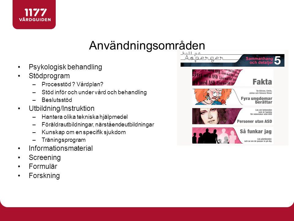 Psykologisk behandling Stödprogram –Processtöd . Vårdplan.