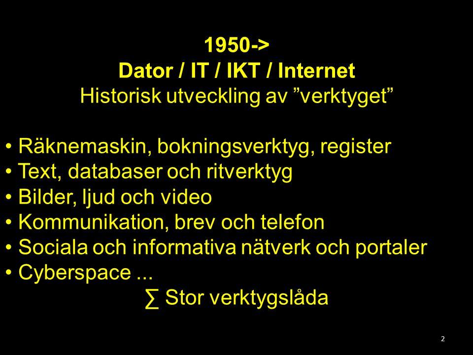 2 1950-> Dator / IT / IKT / Internet Historisk utveckling av verktyget Räknemaskin, bokningsverktyg, register Text, databaser och ritverktyg Bilder, ljud och video Kommunikation, brev och telefon Sociala och informativa nätverk och portaler Cyberspace...