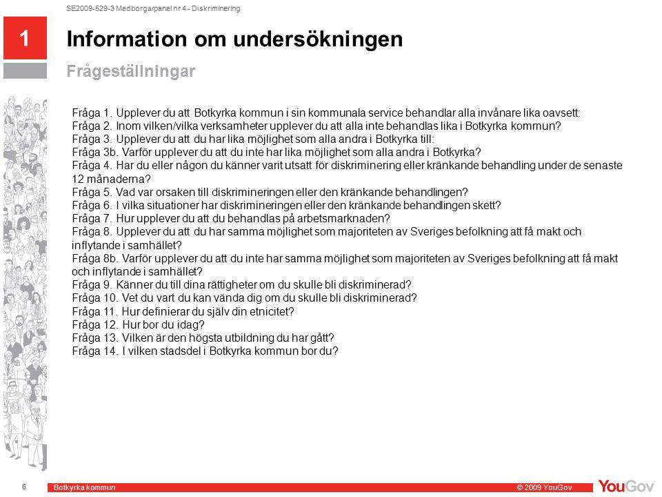 Botkyrka kommun © 2009 YouGov 7 SE2009-529-3 Medborgarpanel nr 4 - Diskriminering Bakgrundsvariabler som visas i tabellerna (bilaga) 1 Information om undersökningen