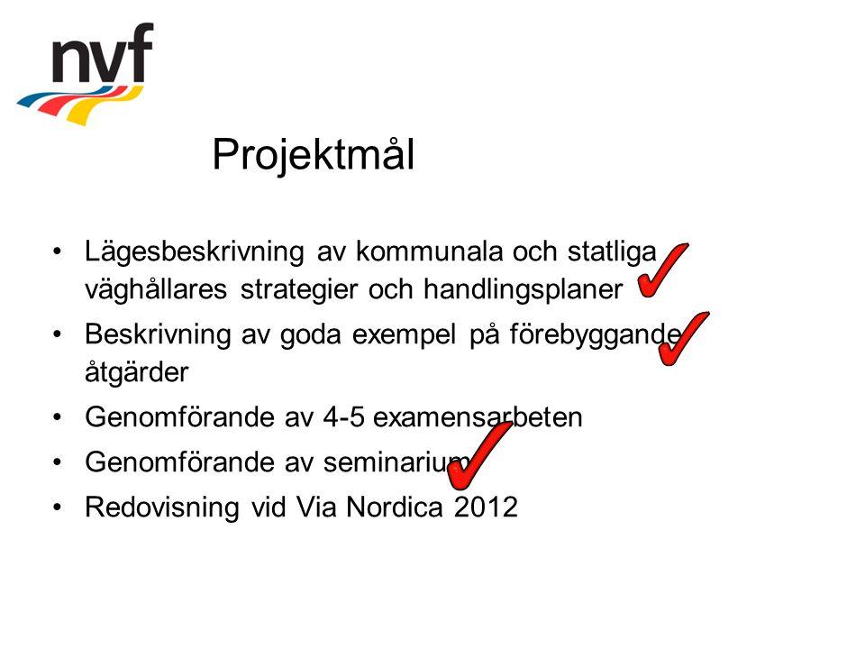 Projektmål Lägesbeskrivning av kommunala och statliga väghållares strategier och handlingsplaner Beskrivning av goda exempel på förebyggande åtgärder Genomförande av 4-5 examensarbeten Genomförande av seminarium Redovisning vid Via Nordica 2012