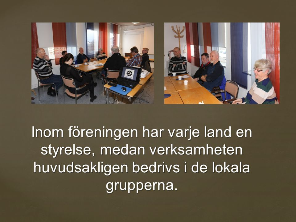Inom föreningen har varje land en styrelse, medan verksamheten huvudsakligen bedrivs i de lokala grupperna.