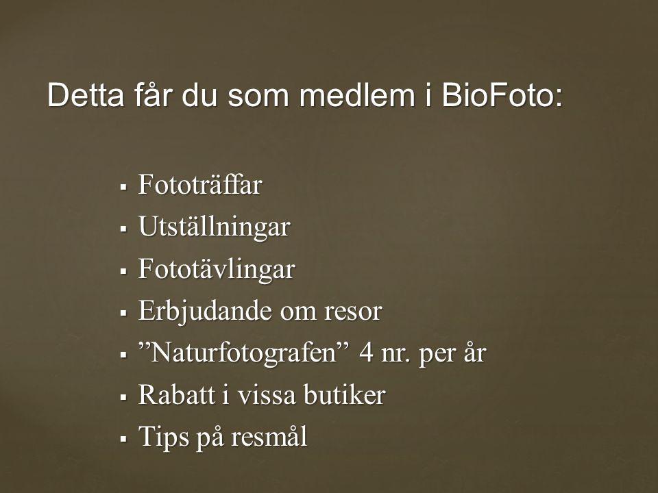 Detta får du som medlem i BioFoto:  Fototräffar  Utställningar  Fototävlingar  Erbjudande om resor  Naturfotografen 4 nr.