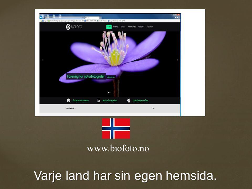 Varje land har sin egen hemsida. www.biofoto.no
