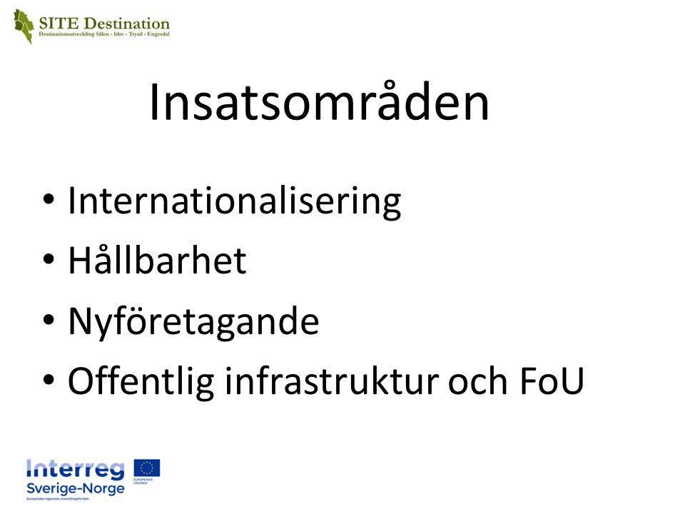 Insatsområden Internationalisering Hållbarhet Nyföretagande Offentlig infrastruktur och FoU