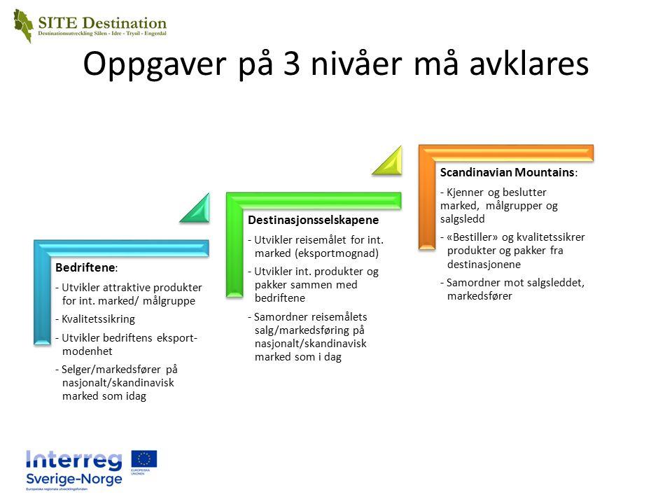 Oppgaver på 3 nivåer må avklares Bedriftene : - Utvikler attraktive produkter for int.