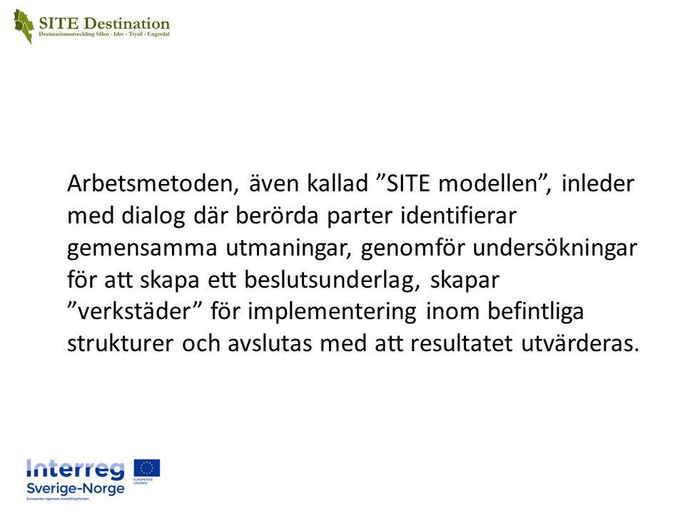 Arbetsmetoden, även kallad SITE modellen , inleder med dialog där berörda parter identifierar gemensamma utmaningar, genomför undersökningar för att skapa ett beslutsunderlag, skapar verkstäder för implementering inom befintliga strukturer och avslutas med att resultatet utvärderas.