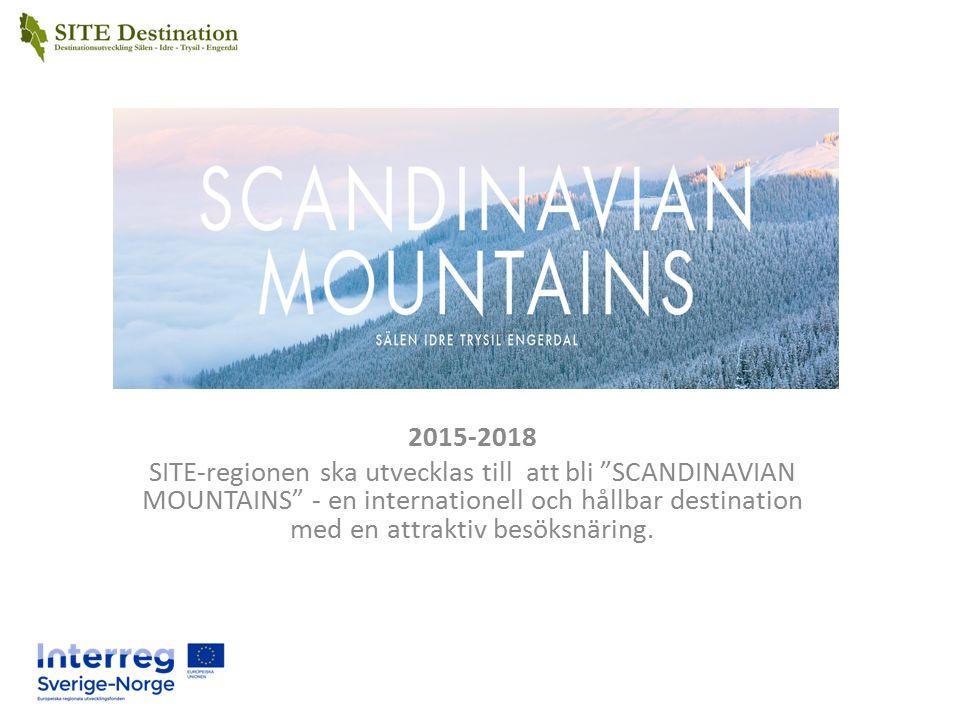 Syfte Med bakgrund och erfarenheter i SITE projektet skall SITE- regionen utvecklas till att bli Scandinavian Mountains – en internationell och hållbar destination med en attraktiv besöksnäring genom att fokusera på – Exportmogna företag och destinationer – Aktivt arbeta för nyföretagande och entreprenörskap – Hållbar utveckling och certifiering – Det offentliga som tar ansvar för konsekvenserna av internationaliseringen och förenklar/tar bort gränshinder för både gäster och näringsliv För SITE kommunerna är syftet att skapa ökad sysselsättning, ökad inflyttning och ökade skatteintäkter.