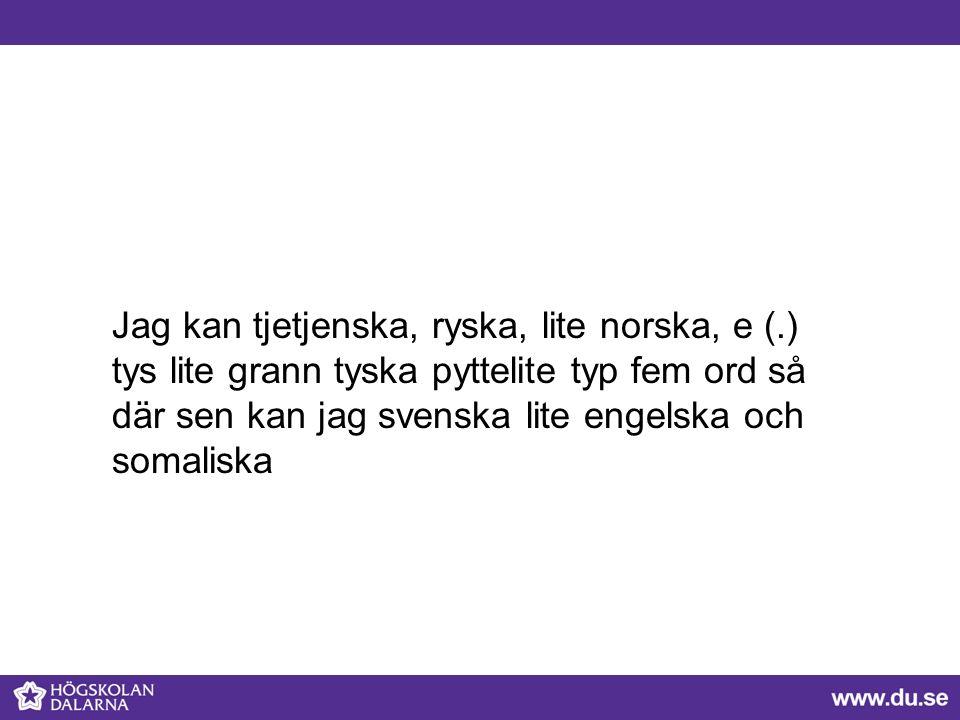 Jag kan tjetjenska, ryska, lite norska, e (.) tys lite grann tyska pyttelite typ fem ord så där sen kan jag svenska lite engelska och somaliska