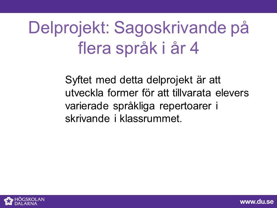 Delprojekt: Sagoskrivande på flera språk i år 4 Syftet med detta delprojekt är att utveckla former för att tillvarata elevers varierade språkliga repe