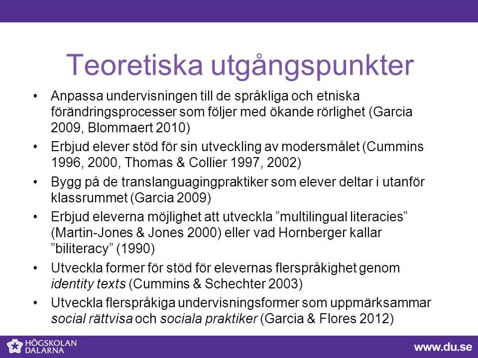Teoretiska utgångspunkter Anpassa undervisningen till de språkliga och etniska förändringsprocesser som följer med ökande rörlighet (Garcia 2009, Blommaert 2010) Erbjud elever stöd för sin utveckling av modersmålet (Cummins 1996, 2000, Thomas & Collier 1997, 2002) Bygg på de translanguagingpraktiker som elever deltar i utanför klassrummet (Garcia 2009) Erbjud eleverna möjlighet att utveckla multilingual literacies (Martin-Jones & Jones 2000) eller vad Hornberger kallar biliteracy (1990) Utveckla former för stöd för elevernas flerspråkighet genom identity texts (Cummins & Schechter 2003) Utveckla flerspråkiga undervisningsformer som uppmärksammar social rättvisa och sociala praktiker (Garcia & Flores 2012)
