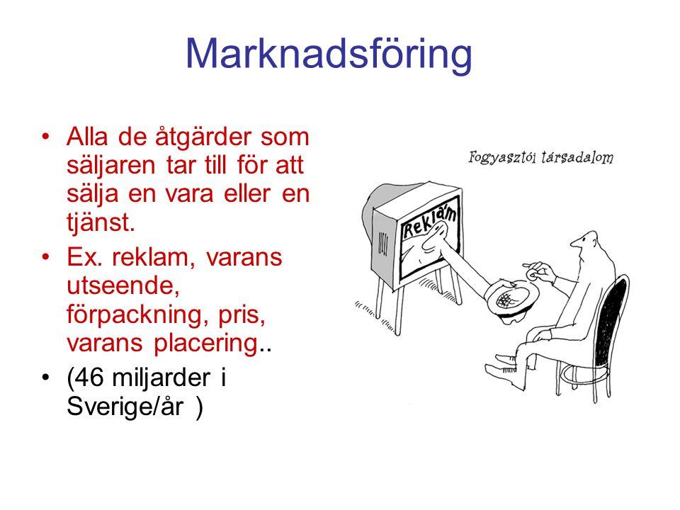 Marknadsföring Alla de åtgärder som säljaren tar till för att sälja en vara eller en tjänst. Ex. reklam, varans utseende, förpackning, pris, varans pl