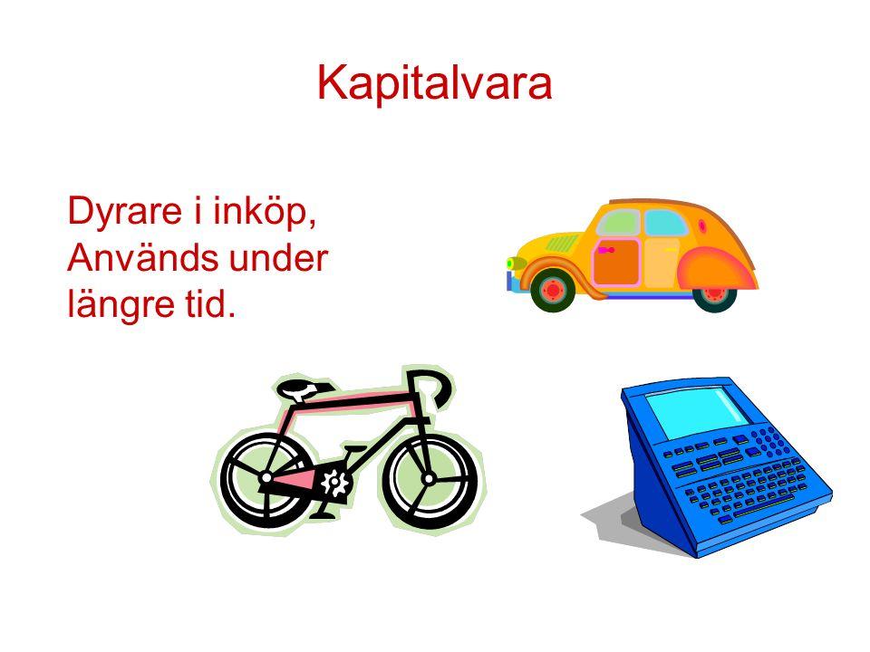 Kapitalvara Dyrare i inköp, Används under längre tid.