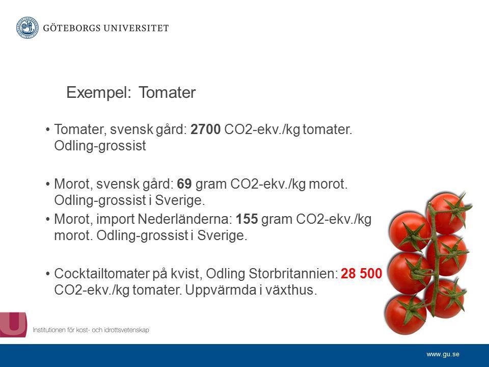 www.gu.se Exempel: Tomater Tomater, svensk gård: 2700 CO2-ekv./kg tomater.