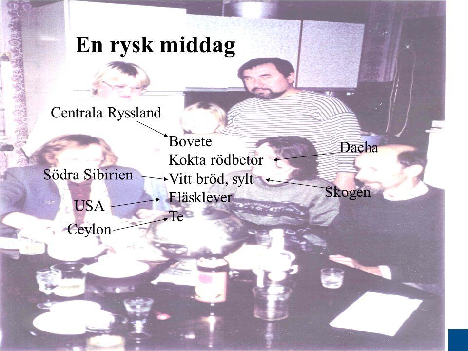 www.gu.se Bovete Kokta rödbetor Vitt bröd, sylt Fläsklever Te Skogen Dacha Ceylon Centrala Ryssland USA Södra Sibirien En rysk middag