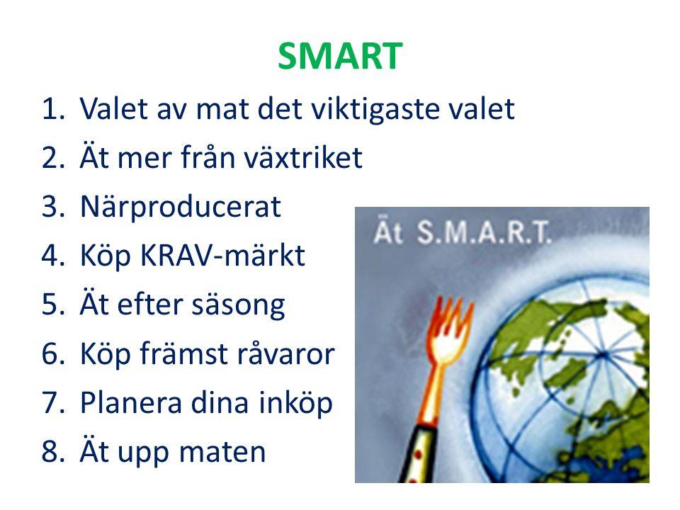 SMART 1.Valet av mat det viktigaste valet 2.Ät mer från växtriket 3.Närproducerat 4.Köp KRAV-märkt 5.Ät efter säsong 6.Köp främst råvaror 7.Planera di