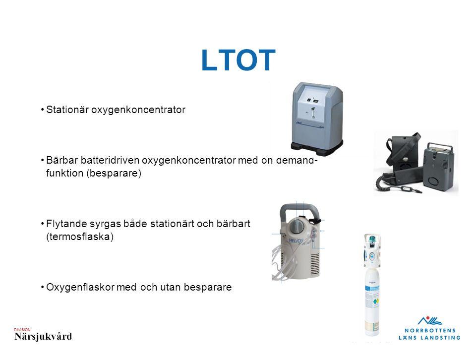 DIVISION Närsjukvård LTOT Stationär oxygenkoncentrator Bärbar batteridriven oxygenkoncentrator med on demand- funktion (besparare) Flytande syrgas både stationärt och bärbart (termosflaska) Oxygenflaskor med och utan besparare