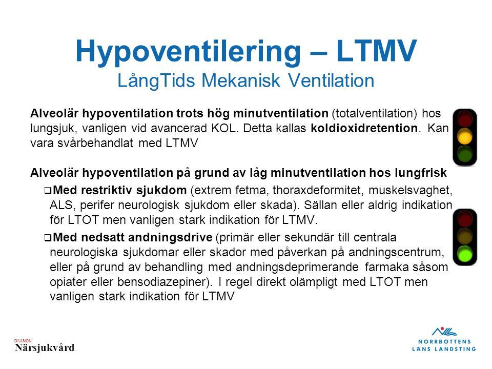 DIVISION Närsjukvård Hypoventilering – LTMV LångTids Mekanisk Ventilation Alveolär hypoventilation trots hög minutventilation (totalventilation) hos lungsjuk, vanligen vid avancerad KOL.