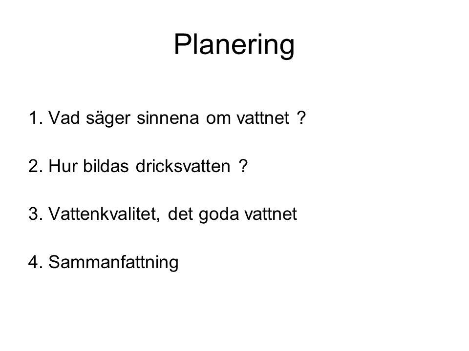 Planering 1. Vad säger sinnena om vattnet . 2. Hur bildas dricksvatten .