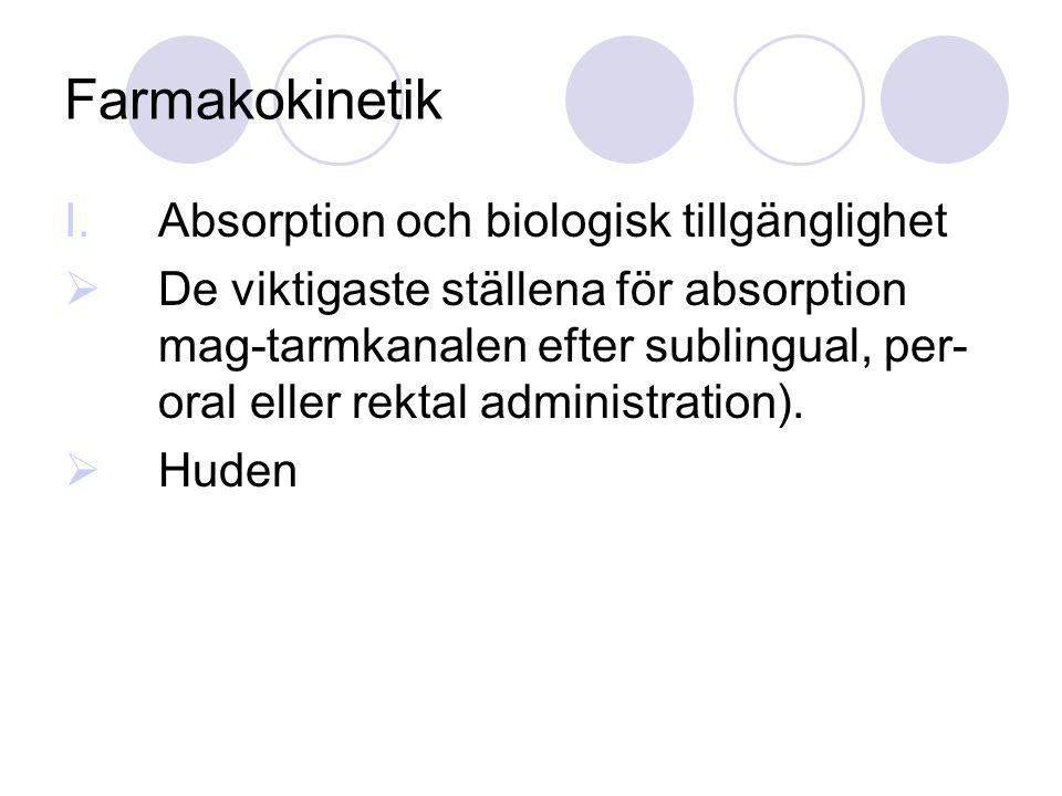 I.Absorption och biologisk tillgänglighet  De viktigaste ställena för absorption mag-tarmkanalen efter sublingual, per- oral eller rektal administrat
