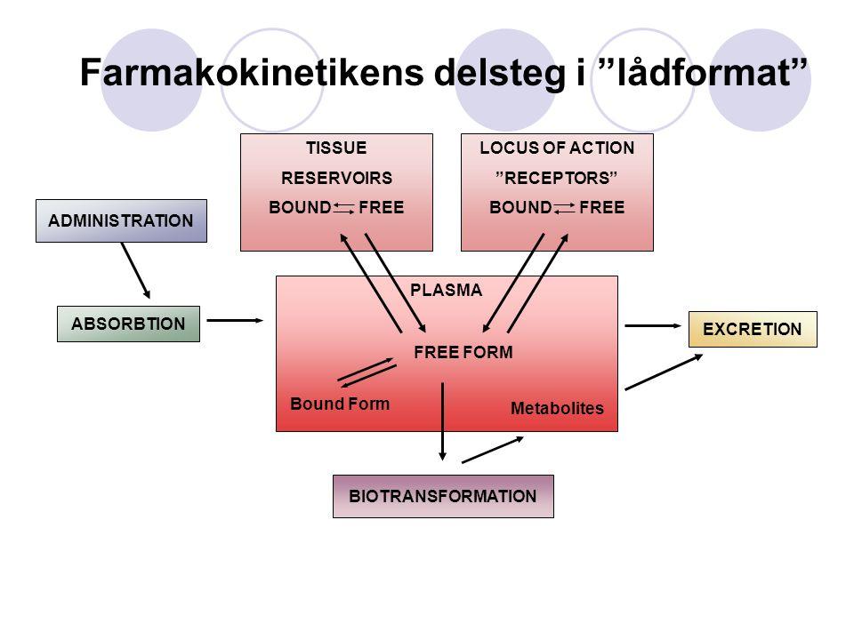 "ABSORBTION ADMINISTRATION PLASMA Bound Form FREE FORM LOCUS OF ACTION ""RECEPTORS"" BOUND FREE TISSUE RESERVOIRS BOUND FREE EXCRETION BIOTRANSFORMATION"
