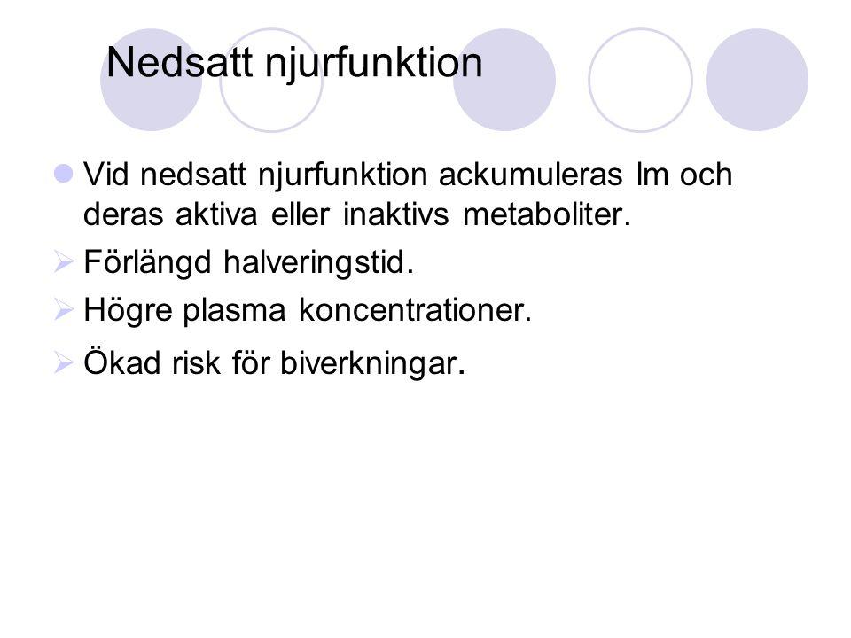 Vid nedsatt njurfunktion ackumuleras lm och deras aktiva eller inaktivs metaboliter.  Förlängd halveringstid.  Högre plasma koncentrationer.  Ökad