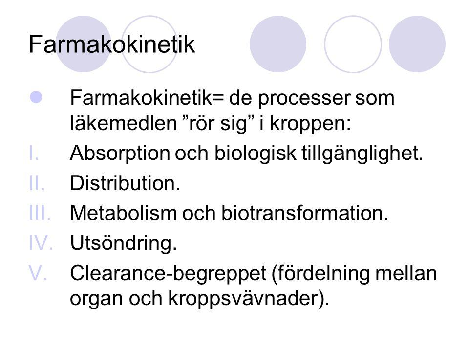 """Farmakokinetik= de processer som läkemedlen """"rör sig"""" i kroppen: I.Absorption och biologisk tillgänglighet. II.Distribution. III.Metabolism och biotra"""