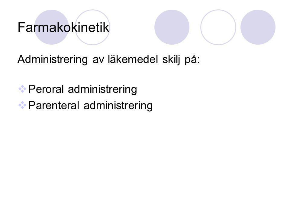Farmakokinetik Administrering av läkemedel skilj på:  Peroral administrering  Parenteral administrering