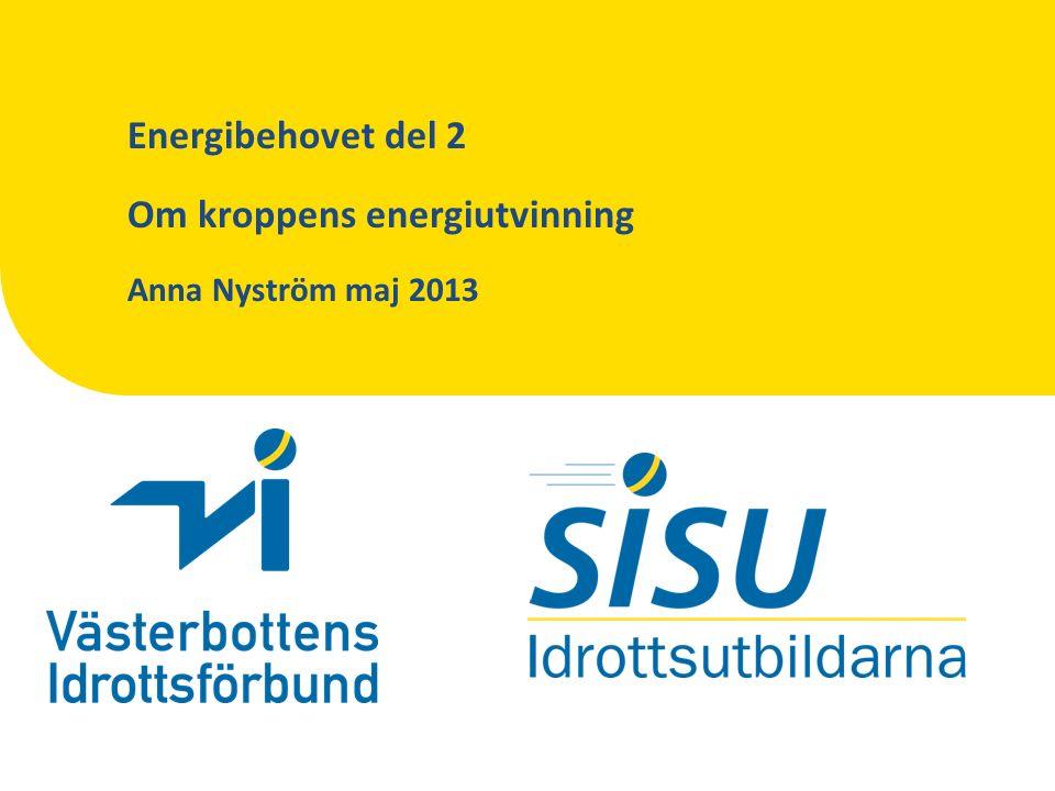 Energibehovet del 2 Om kroppens energiutvinning Anna Nyström maj 2013