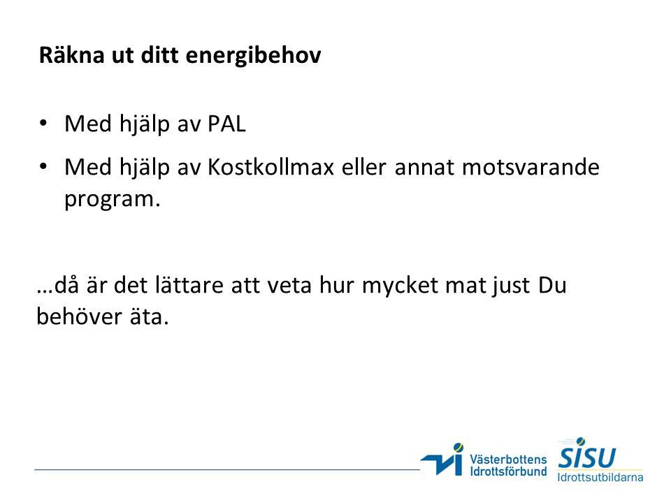 Räkna ut ditt energibehov Med hjälp av PAL Med hjälp av Kostkollmax eller annat motsvarande program.