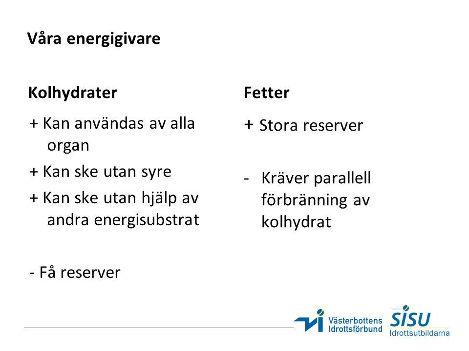Våra energigivare + Kan användas av alla organ + Kan ske utan syre + Kan ske utan hjälp av andra energisubstrat - Få reserver Fetter + Stora reserver -Kräver parallell förbränning av kolhydrat Kolhydrater