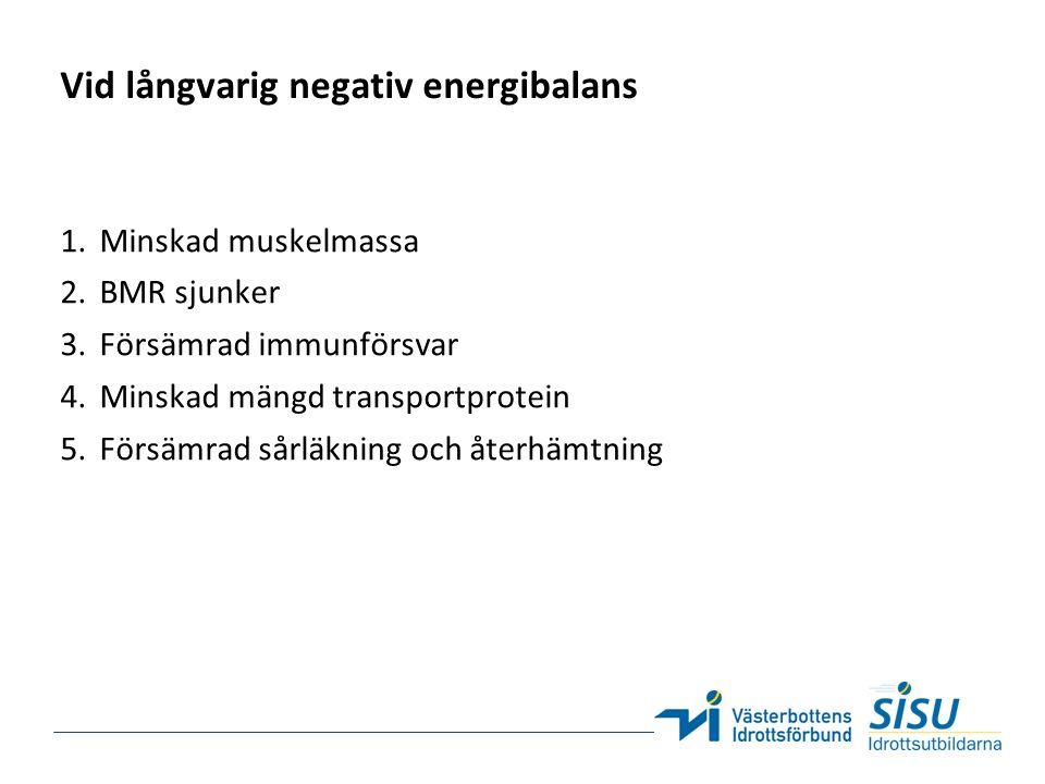 Vid långvarig negativ energibalans 1.Minskad muskelmassa 2.BMR sjunker 3.Försämrad immunförsvar 4.Minskad mängd transportprotein 5.Försämrad sårläkning och återhämtning