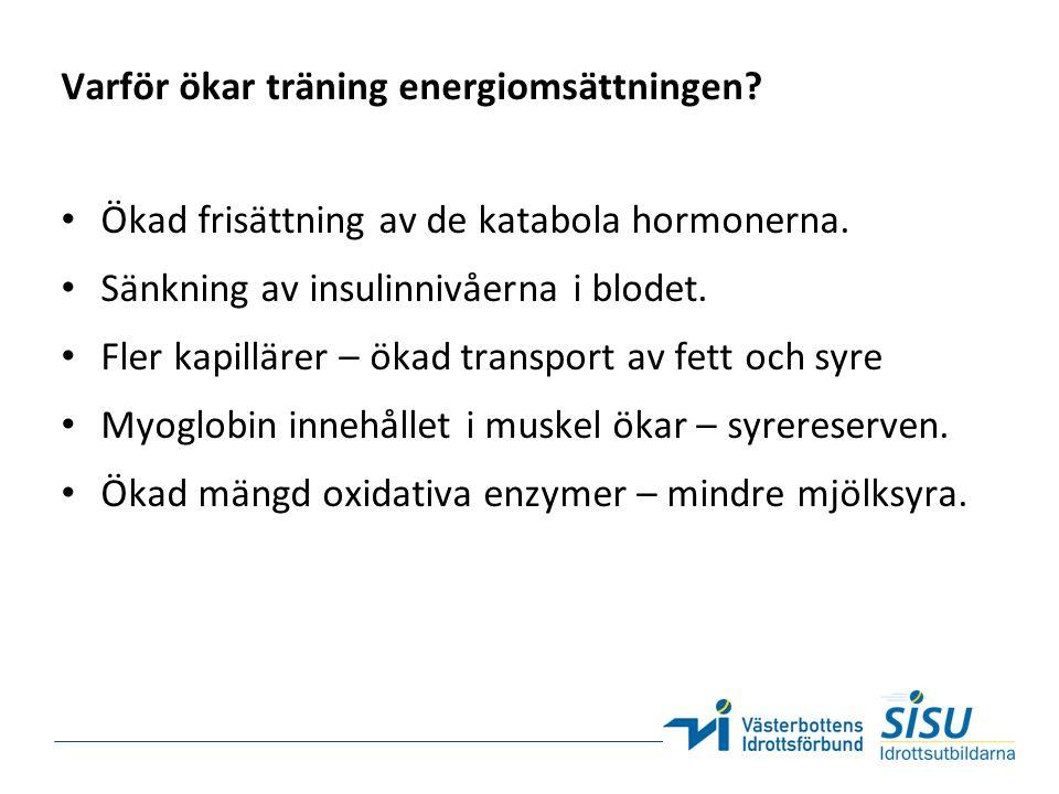 Varför ökar träning energiomsättningen. Ökad frisättning av de katabola hormonerna.