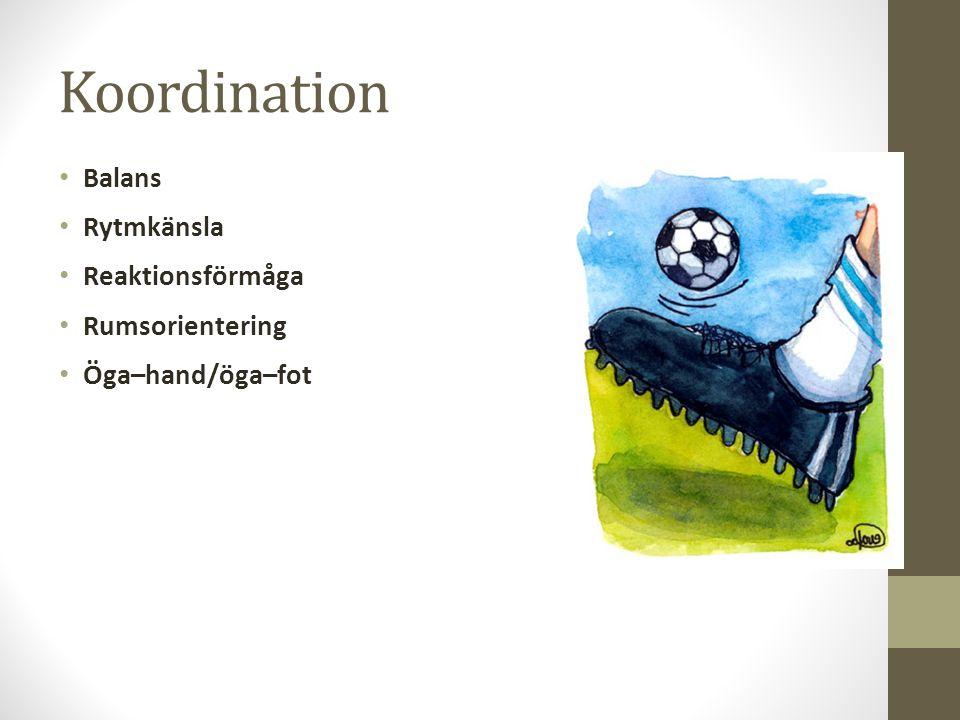 Koordination Balans Rytmkänsla Reaktionsförmåga Rumsorientering Öga–hand/öga–fot