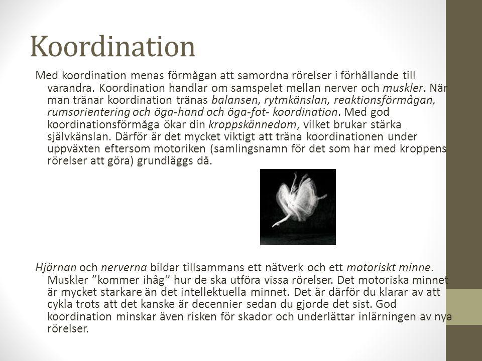 Koordination Med koordination menas förmågan att samordna rörelser i förhållande till varandra.