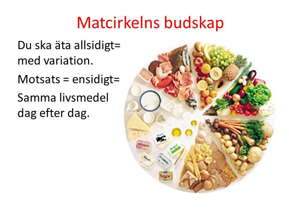 Matcirkelns budskap Du ska äta allsidigt= med variation. Motsats = ensidigt= Samma livsmedel dag efter dag.