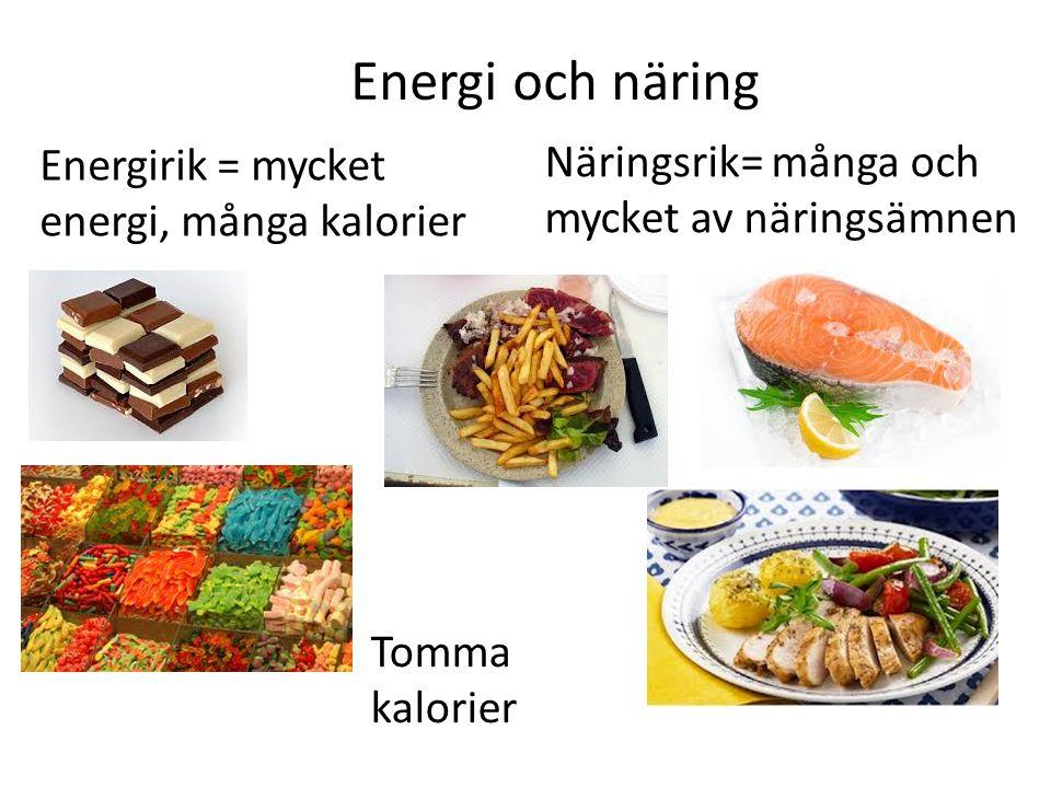 Energi och näring Energirik = mycket energi, många kalorier Näringsrik= många och mycket av näringsämnen Tomma kalorier
