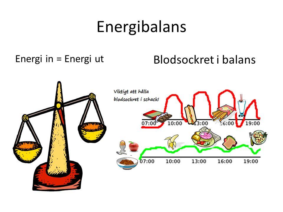 Energibalans Energi in = Energi ut Blodsockret i balans