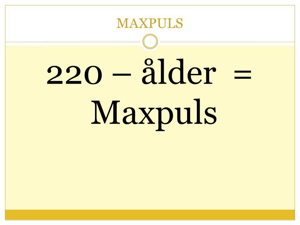 MAXPULS 220 – ålder = Maxpuls