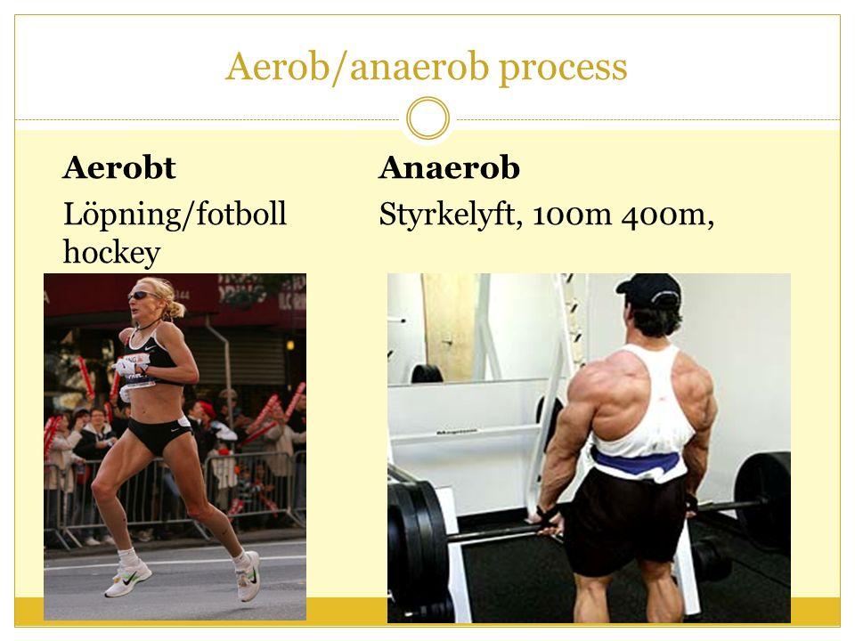 Aerob/anaerob process AerobtAnaerob Löpning/fotbollStyrkelyft, 100m 400m, hockey