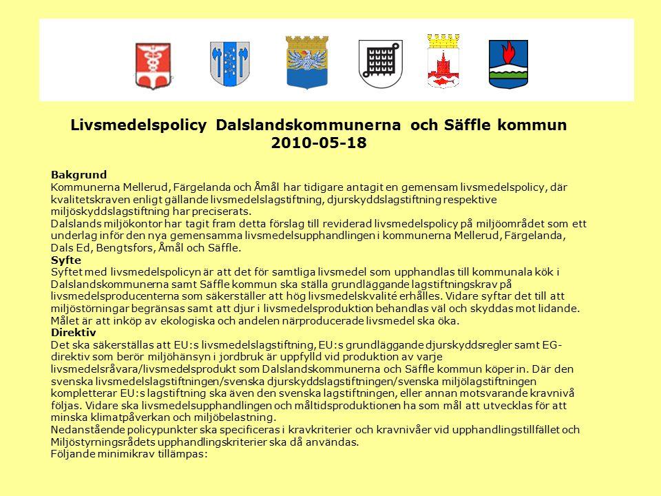 ghgfhf Livsmedelspolicy Dalslandskommunerna och Säffle kommun 2010-05-18 Bakgrund Kommunerna Mellerud, Färgelanda och Åmål har tidigare antagit en gem