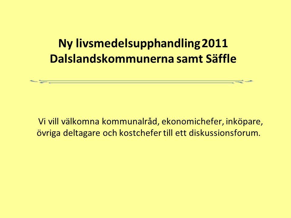 Ny livsmedelsupphandling 2011 Dalslandskommunerna samt Säffle Vi vill välkomna kommunalråd, ekonomichefer, inköpare, övriga deltagare och kostchefer till ett diskussionsforum.