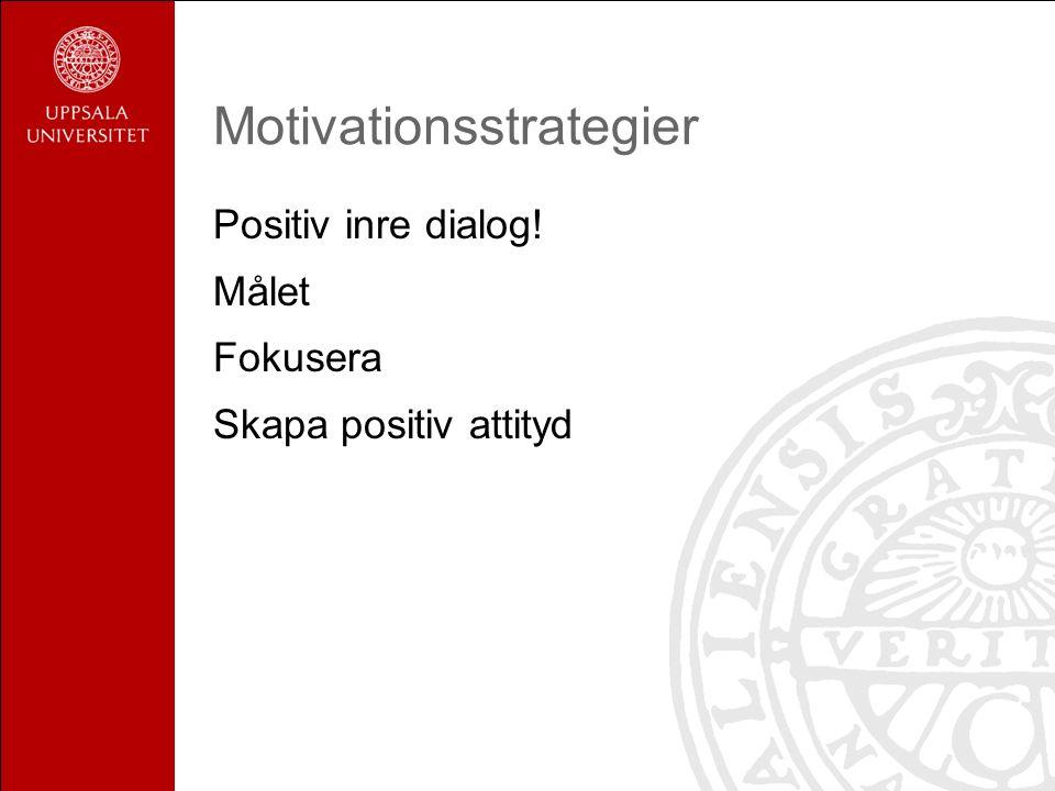 Motivationsstrategier Positiv inre dialog! Målet Fokusera Skapa positiv attityd
