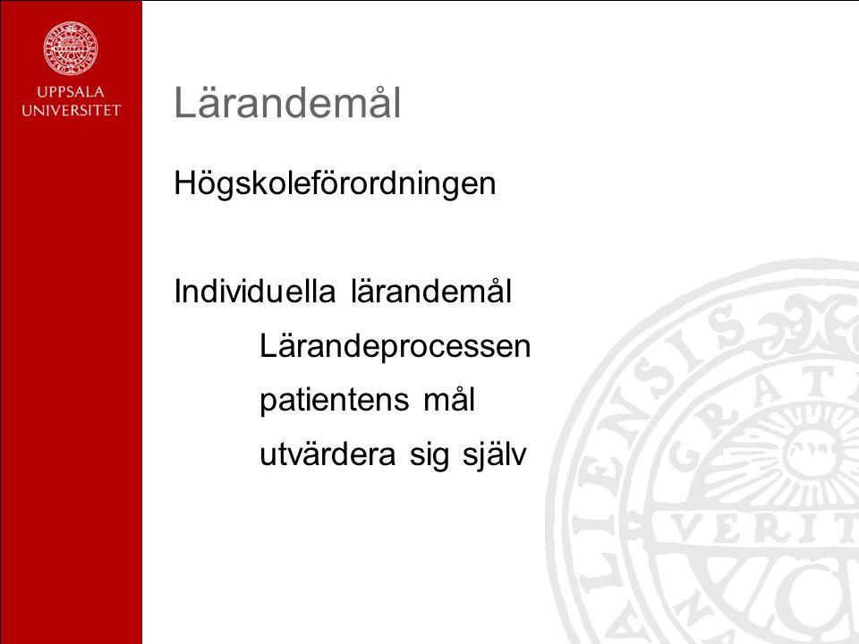 Lärandemål Högskoleförordningen Individuella lärandemål Lärandeprocessen patientens mål utvärdera sig själv