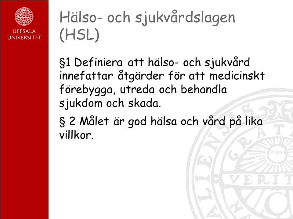 Hälso- och sjukvårdslagen (HSL) §1 Definiera att hälso- och sjukvård innefattar åtgärder för att medicinskt förebygga, utreda och behandla sjukdom och skada.