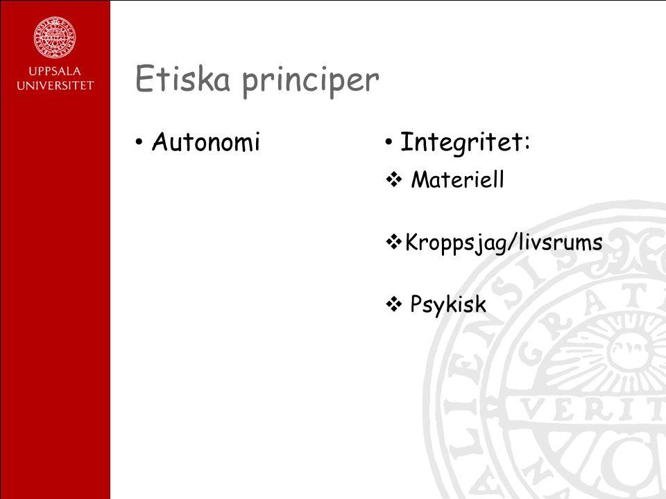Etiska principer Autonomi Integritet:  Materiell  Kroppsjag/livsrums  Psykisk
