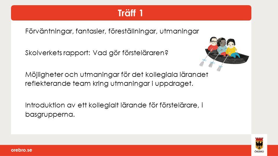 orebro.se Förväntningar, fantasier, föreställningar, utmaningar Skolverkets rapport: Vad gör försteläraren.