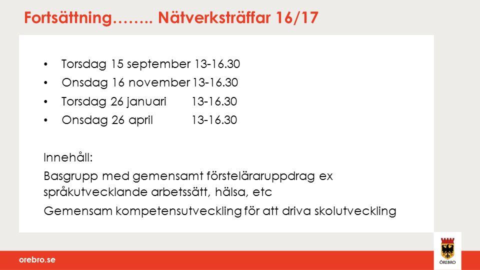 orebro.se Fortsättning…….. Nätverksträffar 16/17 Torsdag 15 september 13-16.30 Onsdag 16 november 13-16.30 Torsdag 26 januari 13-16.30 Onsdag 26 april