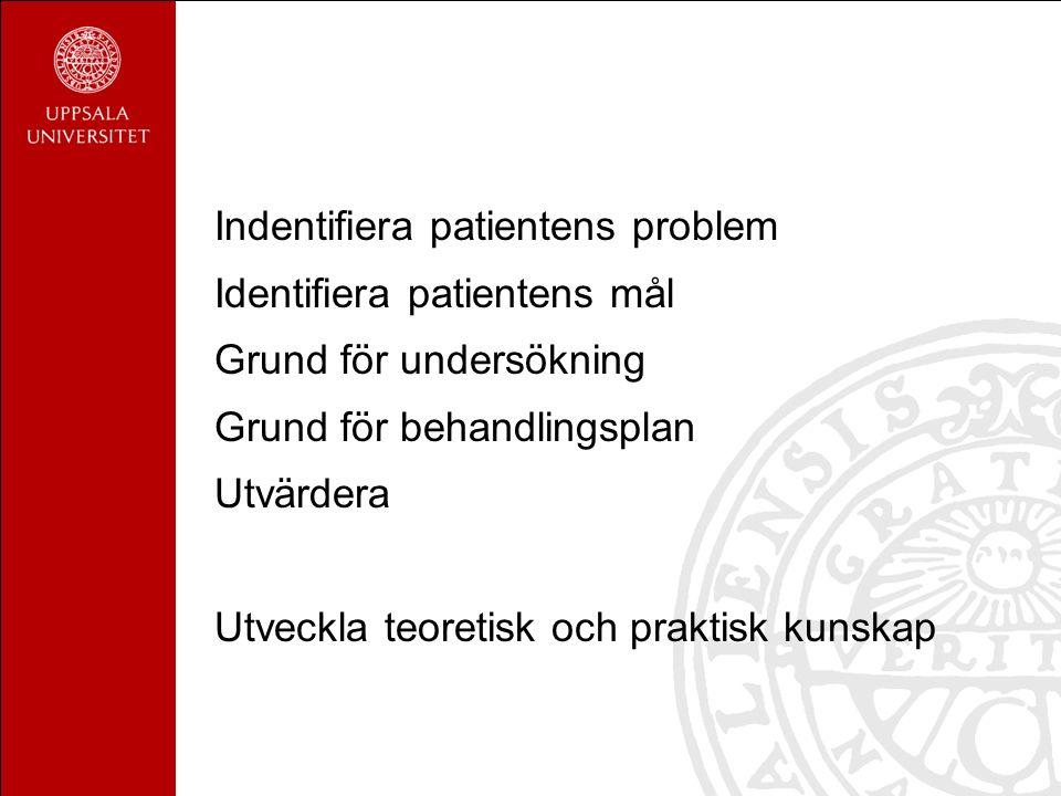Indentifiera patientens problem Identifiera patientens mål Grund för undersökning Grund för behandlingsplan Utvärdera Utveckla teoretisk och praktisk kunskap